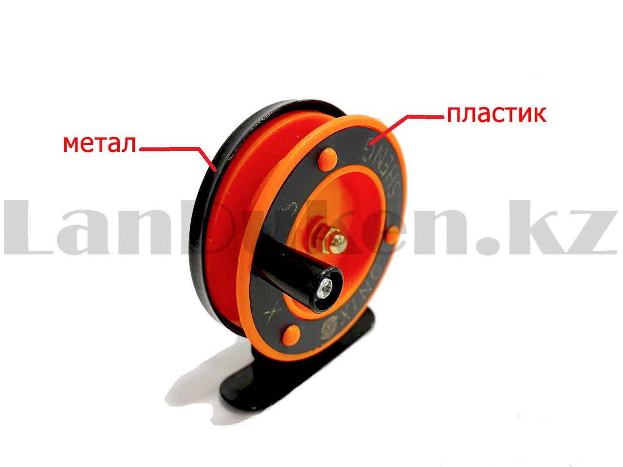 Инерционная катушка для удочки металлическая оранжевая - фото 2