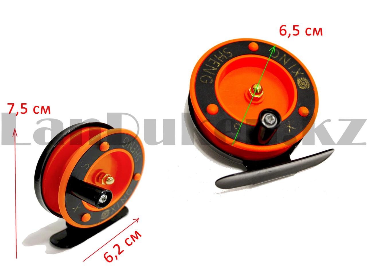 Инерционная катушка для удочки металлическая оранжевая - фото 3