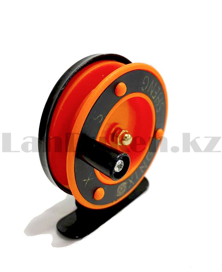 Инерционная катушка для удочки металлическая оранжевая - фото 4