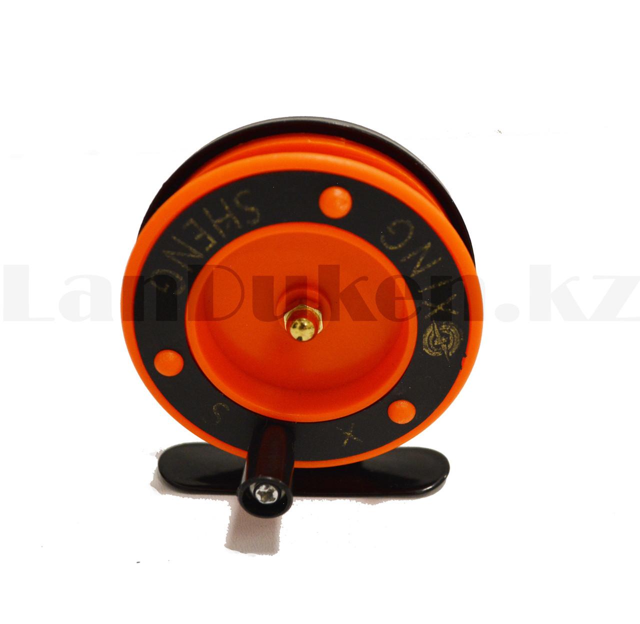 Инерционная катушка для удочки металлическая оранжевая - фото 5