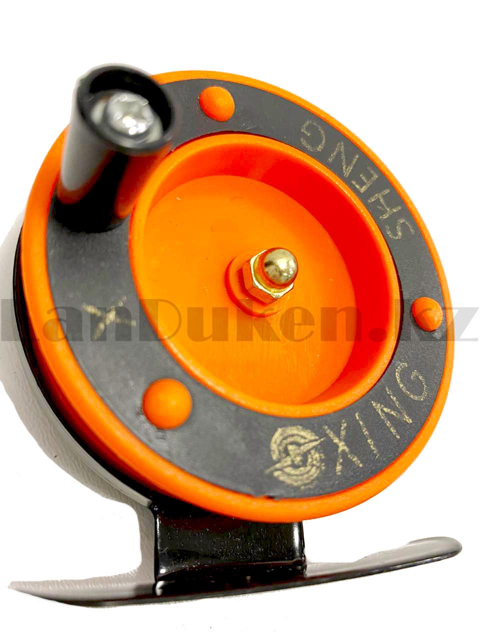 Инерционная катушка для удочки металлическая оранжевая - фото 7
