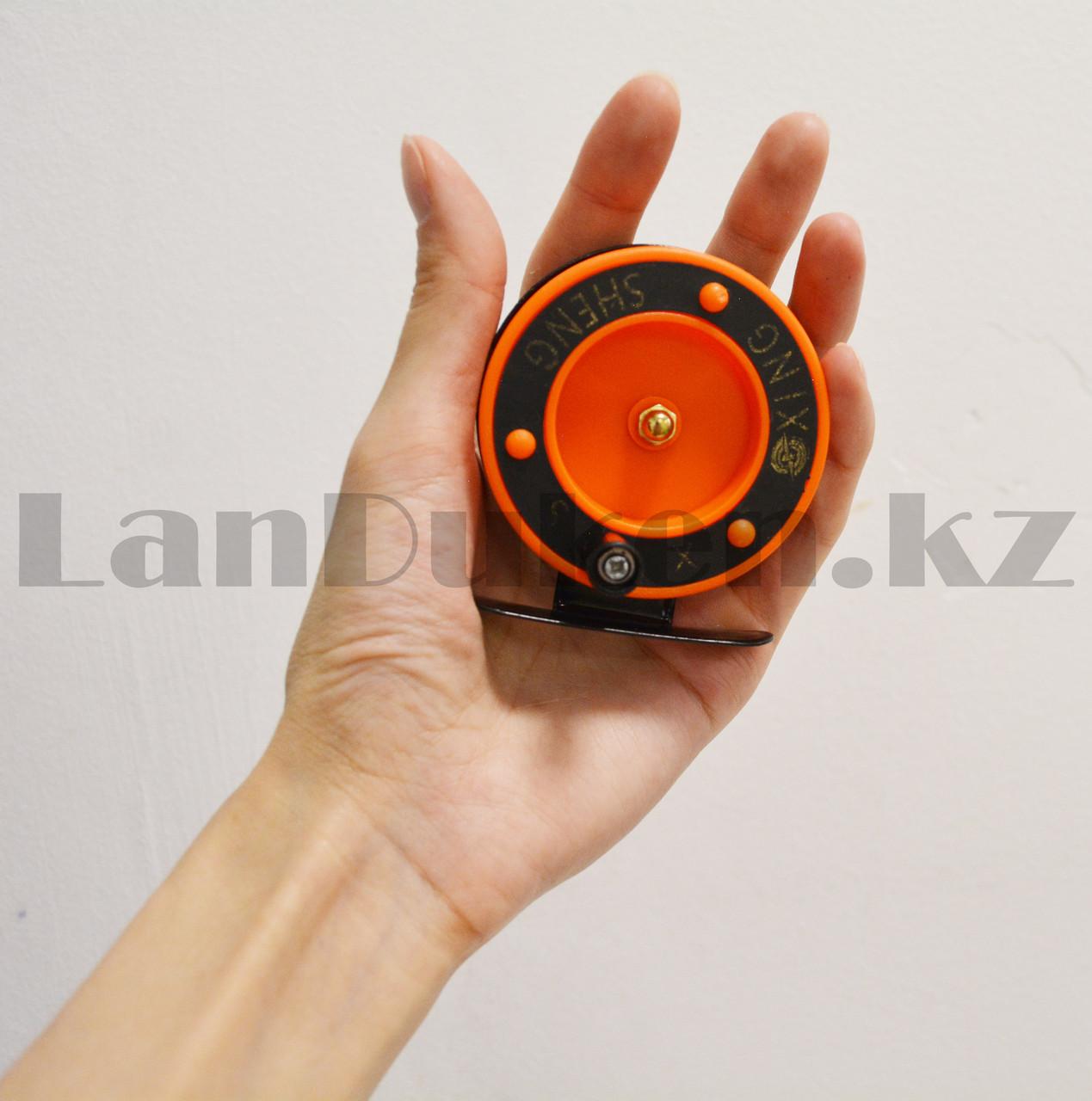 Инерционная катушка для удочки металлическая оранжевая - фото 8