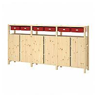 ИВАР 3 секции/шкаф/полки, сосна красный, 260x30x124 см