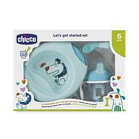 Набор детской посуды Chicco (тарелка, ложка, Поильник Chicco) 6м+, голубой