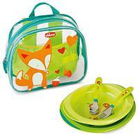 Набор детской посуды Chicco ( тарелка 2 шт, ложка, вилка) в рюкзачке 18м+