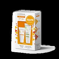 A-Derma PROTECT Солнцезащитный набор SPF50+ для сухой кожи лица (ПОДАРОК увлажняющий защитный гель для душа для лица, тела и волос 100 мл)
