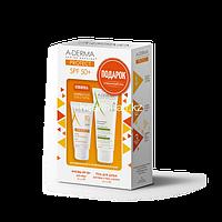 A-Derma PROTECT Солнцезащитный набор SPF50+ для нормальной и комбинированной кожи лица (ПОДАРОК увлажняющий защитный гель для душа для лица, тела и