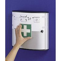 Шкафчик для медикаментов 280x302x118мм, 2 лотка, алюминий, серебристый металлик Durable, фото 6