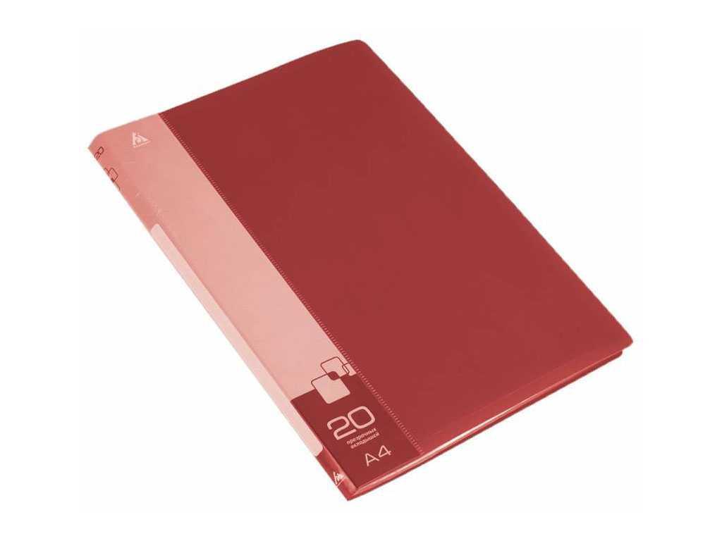 Папка с файлами БЮРОКРАТ на 20 вкладышей, красная