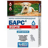 БАРС Форте Капли для щенков, инсектоакарицидные на холку, уп.4 пипетки по 1мл.