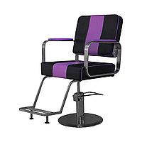 AS-6699 Кресло парикмахерское квадратное (черно-сиреневое)