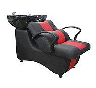 AS-006 Мойка парикмахерская с креслом (черно-красная, гладкая)