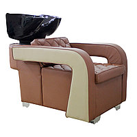 AS-6011 Мойка парикмахерская с креслом (коричнево-бежевая, гладкая)