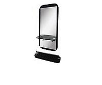 AS-5150 Зеркало навесное с подставкой для ног (черное, гладкое)