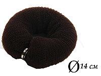 Валик для объема волос Q-66 темно-коричневый Ø 14 см на кнопке AISULU (м) №70902(2)