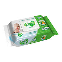 Влажные салфетки AURA для детей с экстрактом алоэ и витамином E с крышкой (120 шт.) №11733