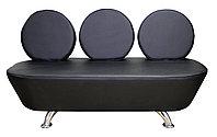 AS-7088 Скамейка для клиентов 3-х местная (черная, гладкая)