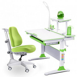 Комплект растущая парта и кресло Mealux EVO-30 (с лампой) ,дерево,цвет зелёный