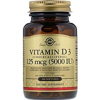 БАД Витамин D3, 5000 IU Солгар (100 капсул)