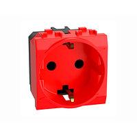Электрическая розетка, с заземлением, со шторками, красная, 2 мод. DKC