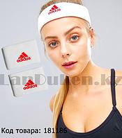 Спортивная повязка на голову и напульсники на руку белая с красной надписью