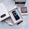 Вращающаяся электронная USB-зажигалка в подарочной коробке, синяя.