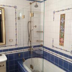 Изготовление стеклянных перегородок в ванную, гармошка прозрачный, Черный