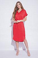 Летнее платье-рубашка, вискоза, 42-56, красный