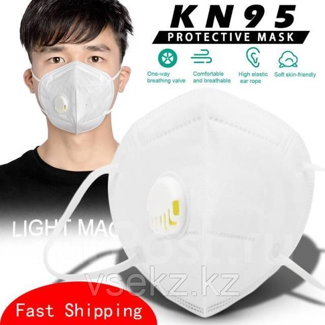Маска-респиратор N95/KN 95 многоразовая с фильтрующим клапаном выдоха (белый цвет)