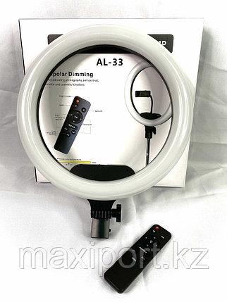 Кольцевая лампа трехцветная 33 см AL-33 Ring Supplementary Lamp с держателем, штативом и пультом ДУ, фото 2