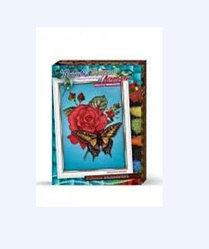 """Набор для творчества """"Вышивка бисером и лентами Бабочка с розой/ Маки и ромашки"""