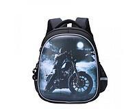 Ранец панцирь школьный для мальчика Мотоцикл, черный