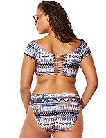 Купальник с короткими рукавами раздельный Fashion Print (4XL), фото 2