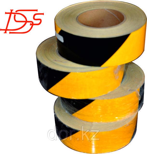 Лента световозвращающая  черно-желтая для ограждения опасностей