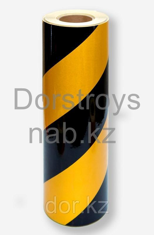 Пленка световозвращающая  черно-желтая для ограждения опасностей