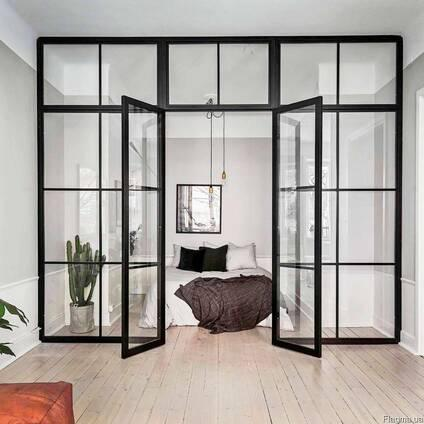 Изготовление стеклянной перегородки межкомнатные в стиле  LOFT