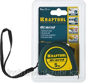 Рулетка KRAFTOOL GRAND, обрезиненный пластиковый корпус, 5м/25мм, фото 2