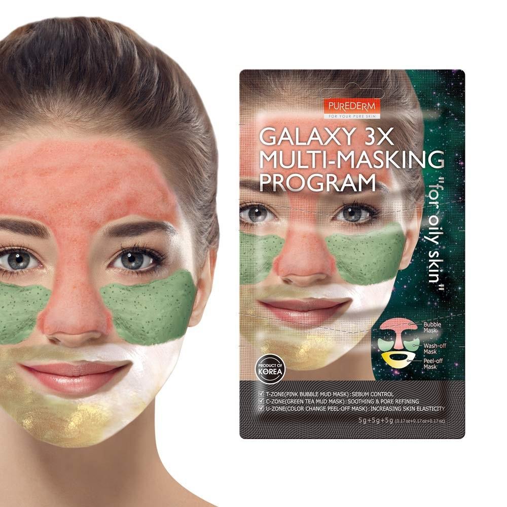 Purederm Комбинированная мульти-маска для жирной кожи лица Galaxy 3X Multi-Masking Program (3 х 5 гр)