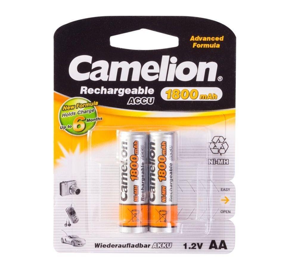 Аккумуляторная батарейка Camelion AA NH-AA1800BP2, Перезаряжаемая, 1.2V, 1800 mAh (2 шт.)