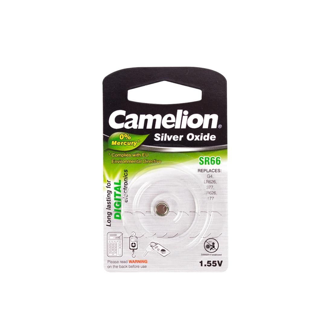 Батарейка CAMELION SR66-BP1(0%Hg)  Silver Oxide 1.55V 0% Ртути 1 шт. Блистер