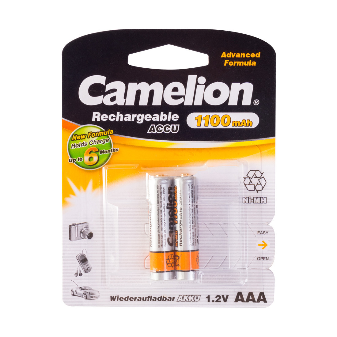 Аккумулятор  CAMELION  NH-AAА1100BP2  Rechargeable  AAA  1.2V  1100 mAh  2 шт.  Блистер