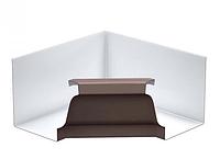 Угол желоба внутренний 90º Коричневый 120х86 Металлический прямоугольного сечения ПЭ Ral 8017