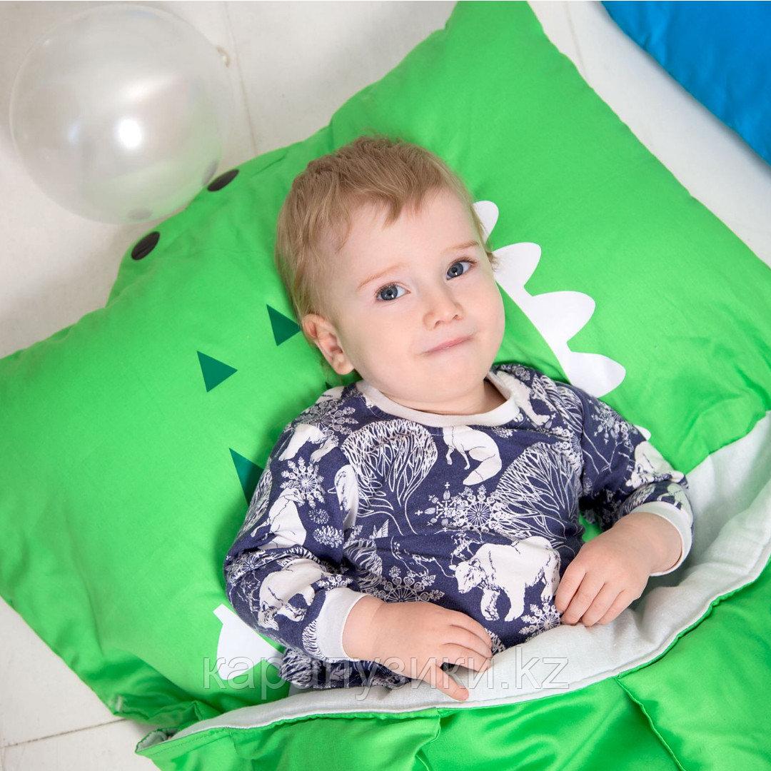 Детский спальный мешок слипик зеленый