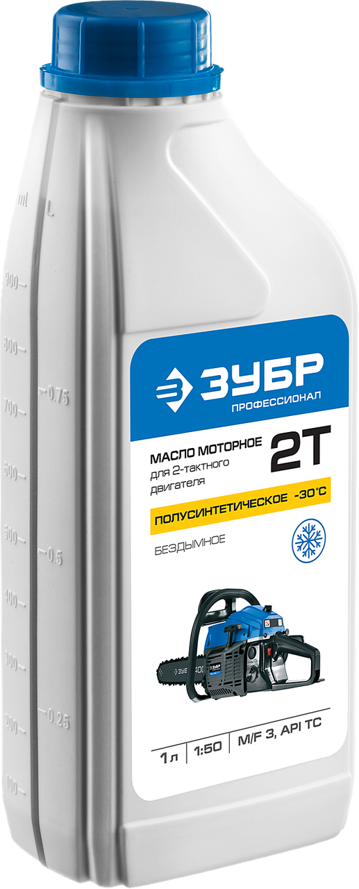 Масло ЗУБР, для 2-х тактных двигателей,полусинт.(-30С),соотнош. бензин-масло 50:1, класс API TC, M/ (ЗМД-2Т-П)