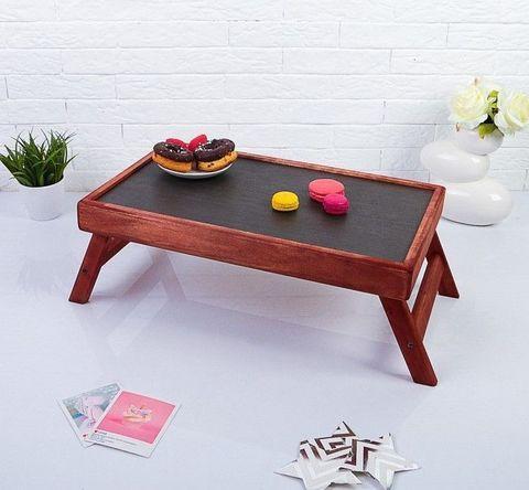 Столик складной деревянный для завтрака «Утро доброе» (Красное дерево)