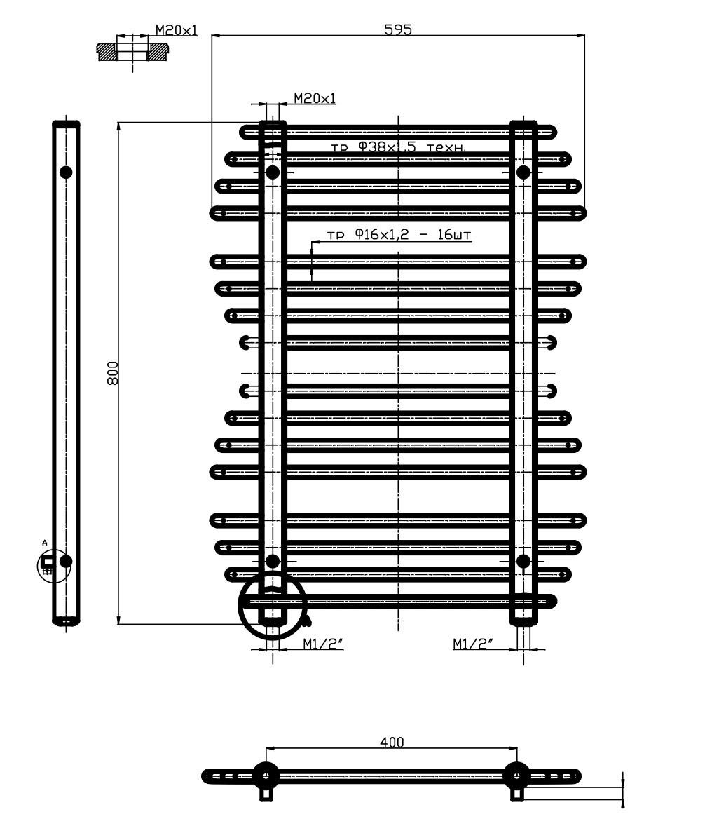 Полотенцесушитель 600х800 Нижнее, с протекторной защитой