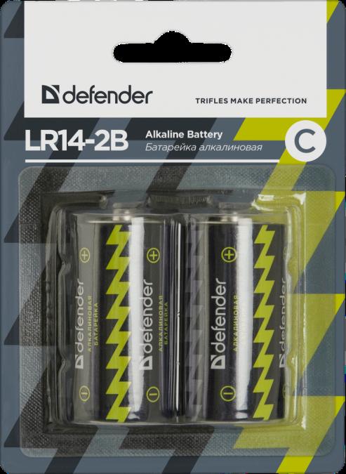 Элемент питания LR14-C Alkaline Defender LR14-2B - 2 штуки в блистер