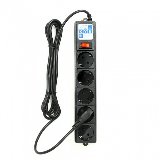 Сетевой фильтр Power Cube SPG-B-10-BLACK, 10А/2,2кВт, 3м, 5 розеток чёрный
