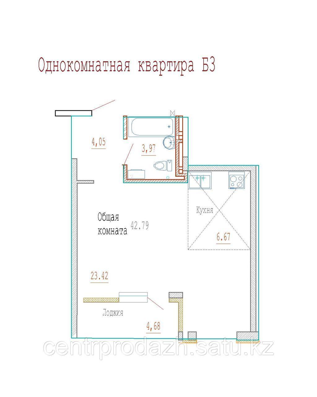 1 комнатная квартира в ЖК Кристалл 2 42 м²