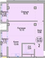 2 комнатная квартира в ЖК Алтын Отау 59.46 м², фото 1